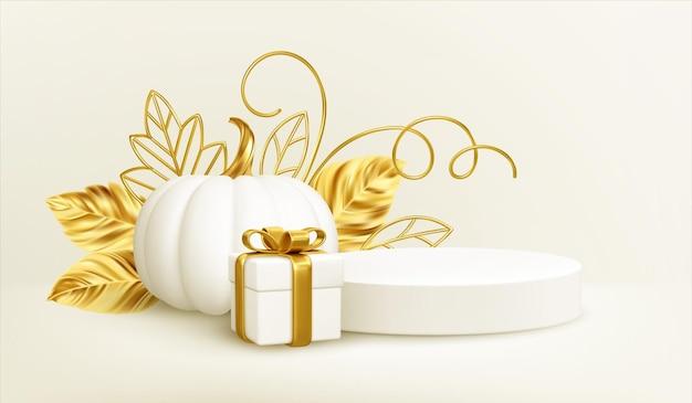 흰색 배경에 격리된 황금빛 잎, 제품 연단, 선물 상자가 있는 3d 실제 화이트 골드 호박. 호박, 연단 및 선물 상자 추수 감사절 배경. 벡터 일러스트 레이 션