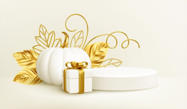 3d realistic white gold pumpkin with golden leaves, product podium and gift box isolated on white background. thanksgiving background with pumpkins, podium and gift box. vector illustration
