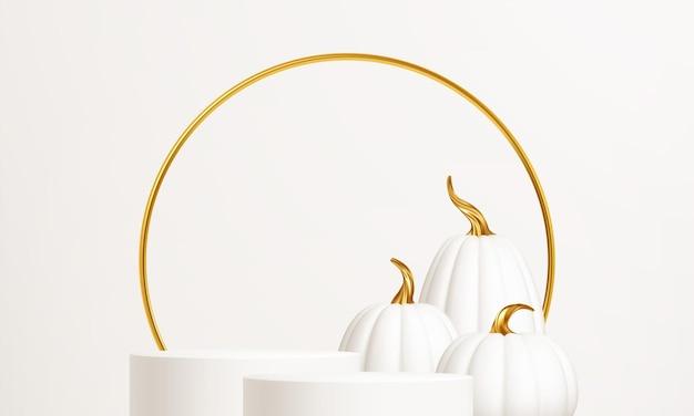白い背景に分離された白い製品の表彰台と3dリアルなホワイトゴールドのカボチャ。製品ステージ、カボチャ、感謝祭の碑文の感謝祭の背景。ベクトルイラスト