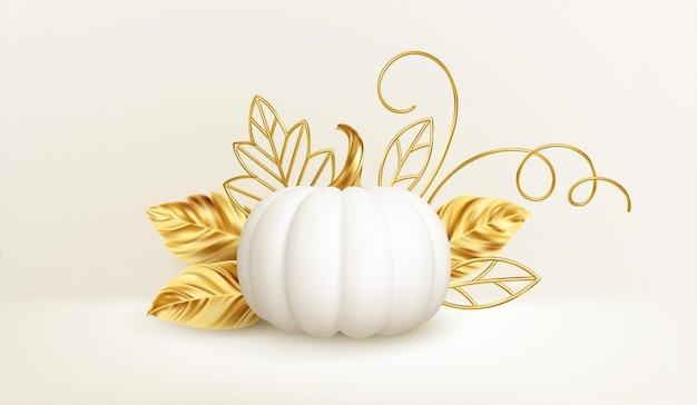 3d 현실적인 흰색 황금 호박에는 황금빛 잎이 있고 곱슬거리는 흰색 배경에 격리되어 있습니다. 호박과 추수 감사절 배경입니다. 벡터 일러스트 레이 션 eps10