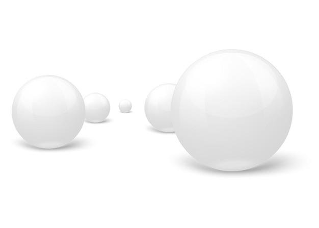 3d реалистичные белые мраморные шары, установленные в композиции, на белом и сером