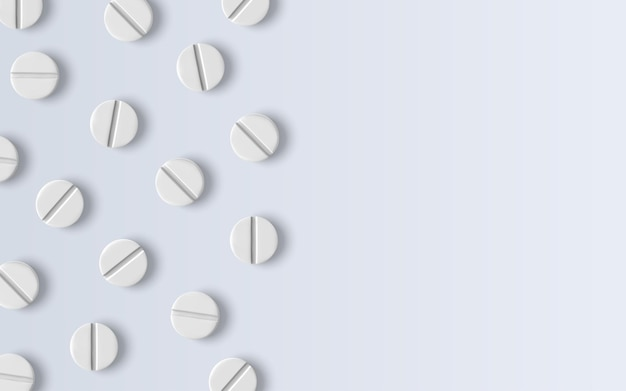 3d 현실적인 흰색 의료 알약, 상위 뷰입니다. 알약의 디자인 템플릿, 그래픽용 캡슐, 모형.
