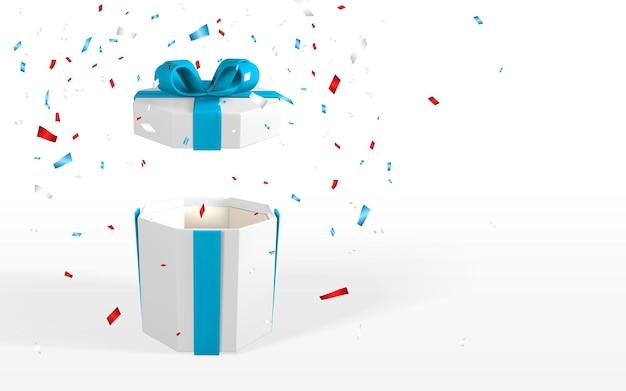 青い弓と3dリアルな白いオープンギフトボックス。白い背景で隔離のリボン、影、紙吹雪と紙箱。ベクトルイラスト。