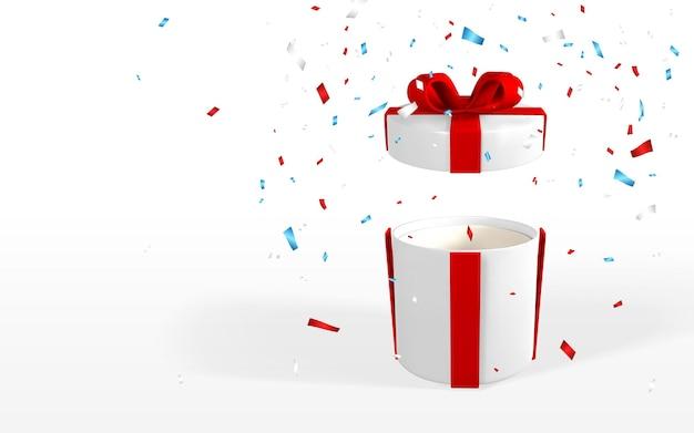3d 현실적인 흰색 열린 선물 상자에는 붉은 활이 있습니다. 리본, 그림자 및 색종이 흰색 배경에 고립 된 종이 상자. 벡터 일러스트 레이 션.