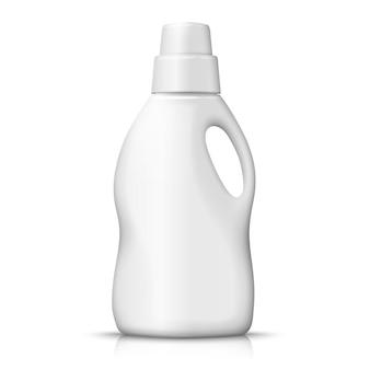 3d realistic white plastic detergent bottle on white background