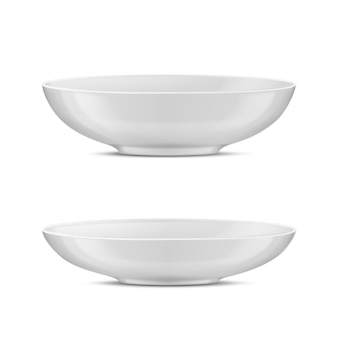 3d realistic white porcelain tableware, glass dishes for different food.