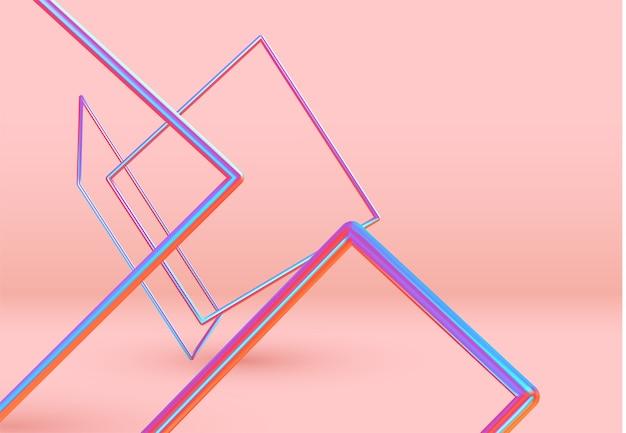 3d объекты формы прямоугольника. минимальный абстрактный фон с градиентом синего и розового цвета элементы квадратной рамки левитация в пространстве. плакат с реалистичными геометрическими объемными формами