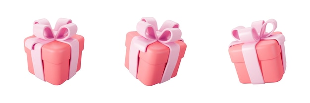 3d red gift box set with pastel ribbon bow isolated on a white background. 3d render flying modern holiday closed surprise box. realistic vector icon for present, birthday or wedding banners