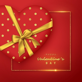リアルな金色の弓とキラキラフレームの3d赤いハート。バレンタインデーの休日。