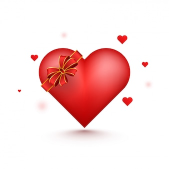 3d red heart with ribbon.