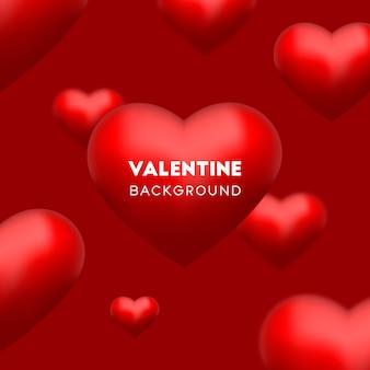 발렌타인 데이 벡터에 대 한 빨간색 배경에 3d 빨간 사랑 마음 플 로트 프리미엄 벡터