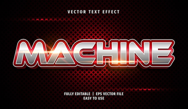 3d red machine text effect, editable text style