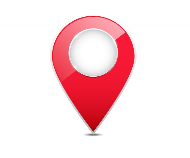3d red map location pointer.