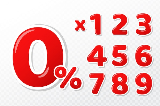 3d red numbers set with 0 percent mark and numbers installment payment concepts