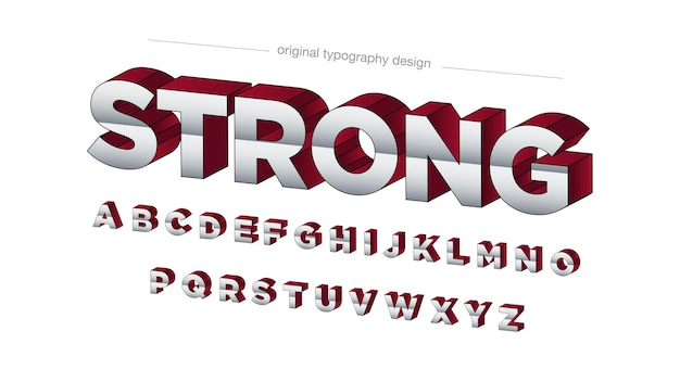 3d red perspective bold uppercase 타이포그래피