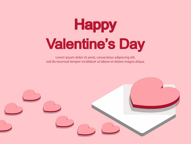3d red and pink hearts with white letter background
