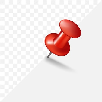 3d red push pin on transparent background