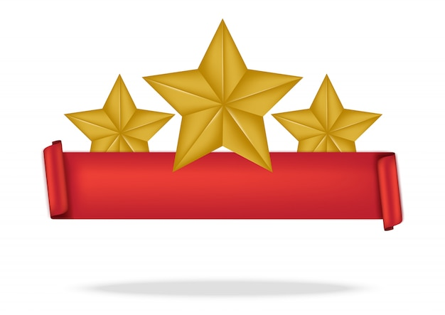 3d red ribbon and premium star for award