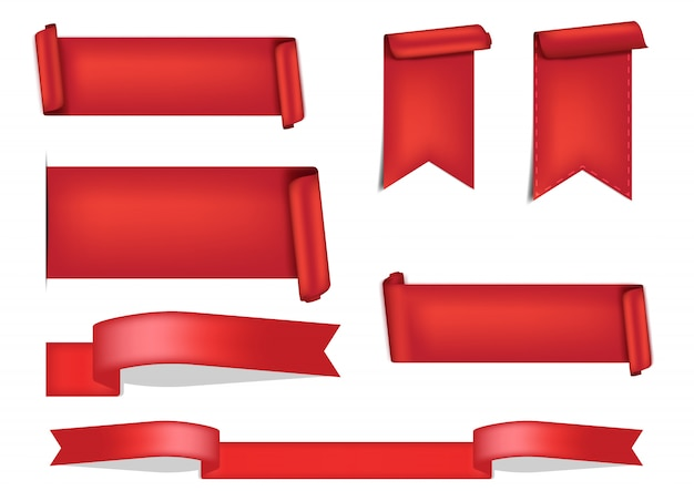 3d red ribbon shadow for award on white