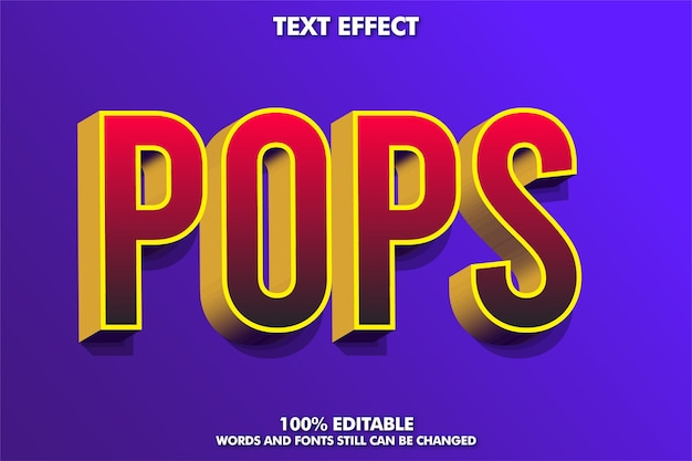 3d red text effect with gold extrude