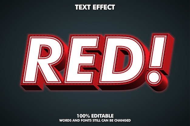 외부 광선이있는 3d 빨간색 텍스트 효과