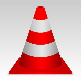 3d red traffic cone. vector sign