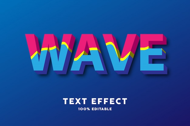 3d red yellow blue wavy style, text effect