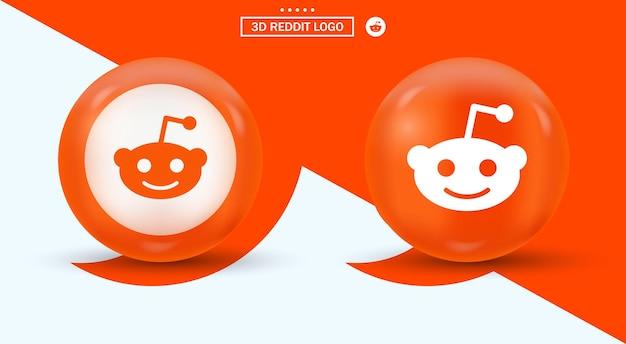 ソーシャルメディアアイコンのモダンなスタイルの3dredditロゴ-オレンジ色の楕円