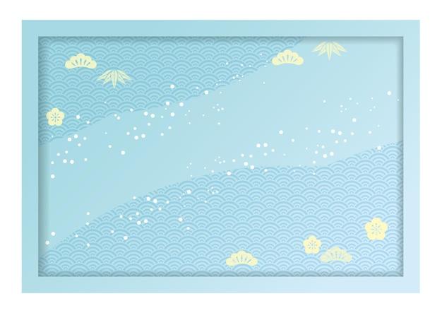 일본 빈티지 패턴으로 장식 된 3d 릴리프 프레임 및 배경 그림