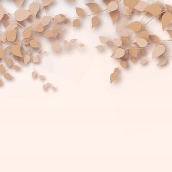 3dは、ローズゴールドの背景に抽象的なローズゴールドの枝と葉をレンダリングします