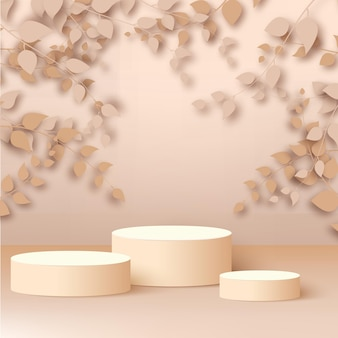 3dは、ローズゴールドの背景にベージュの表彰台で抽象的なローズゴールドの枝と葉をレンダリングします