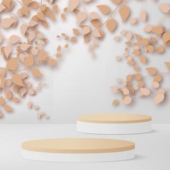 3dは、白い背景に白と木の表彰台で抽象的なローズゴールドの枝と葉をレンダリングします