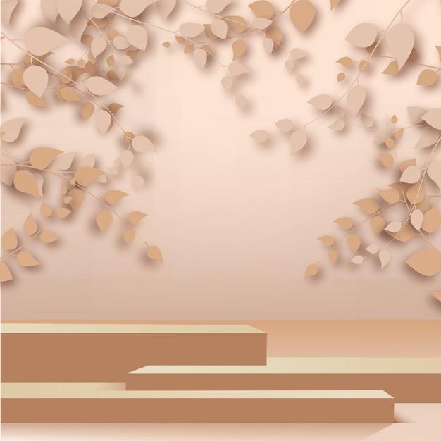 3dは、ローズゴールドの背景に抽象的なローズゴールドの枝、葉、表彰台をレンダリングします