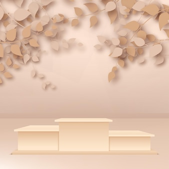 3d render abstract rose gold branches and leaves with beige podiums on rose gold background