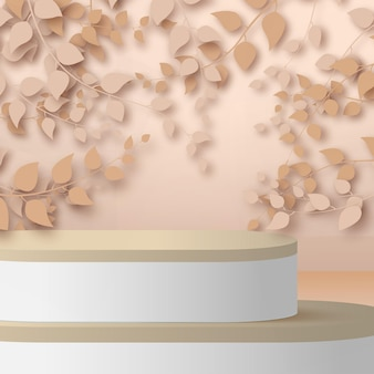 3d render abstract rose gold branches and leaves with white and wood podium on rose gold background