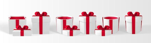 3d 렌더링 및 활이 있는 메쉬 현실적인 선물 상자로 그립니다. 흰색 배경에 고립 된 그림자와 종이 상자. 벡터 일러스트 레이 션.