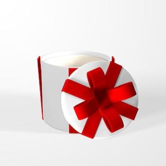 弓付きのメッシュのリアルなギフトボックスによる3dレンダリングと描画。白い背景で隔離の影と紙箱。ベクトルイラスト。