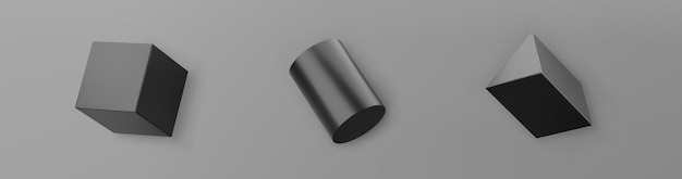 3d render black geometric shapes objects set isolated on grey background. black realistic primitives - cube, cylinder with shadows. abstract decorative vector figure for trendy design