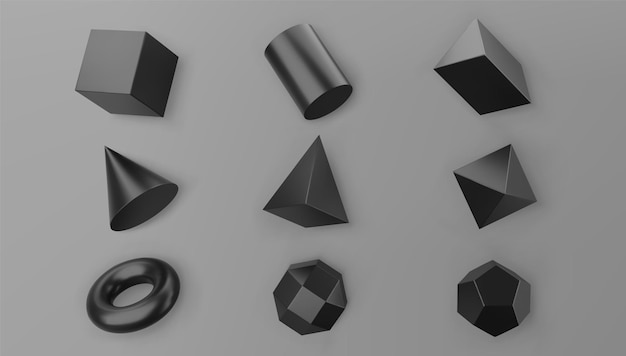 3d render black geometric shapes objects set isolated on grey background. black realistic primitives - cube, pyramid, torus, cone with shadows. abstract decorative vector figure for trendy design.