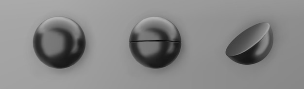 3d render black geometric shapes objects set isolated on grey background. black realistic primitives - spheres with shadows. abstract decorative vector figure for trendy design