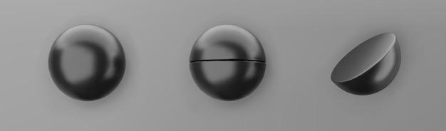 3d는 회색 배경에 격리된 검은색 기하학적 모양 개체 집합을 렌더링합니다. 검은색 사실적인 기본체 - 그림자가 있는 구체. 최신 유행 디자인을 위한 추상 장식 벡터 그림