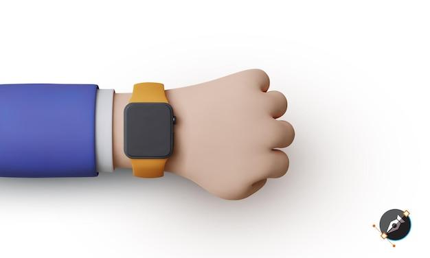 スーツを着たビジネスマンの手にある3dレンダリング時計。スマートウォッチ。背景に分離された時計と手。ベクトルのリアルなイラスト。