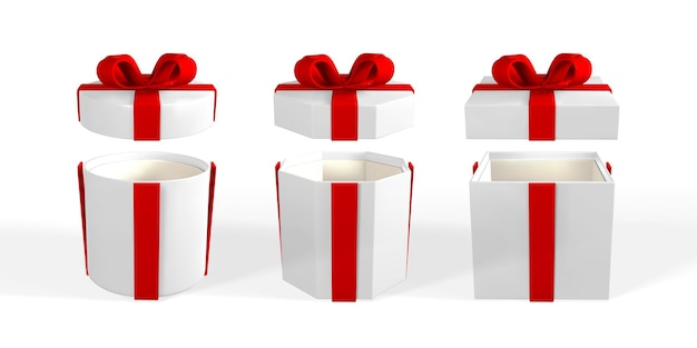 3d render and draw by mesh realistic gift box with bow. paper box with shadow isolated on white background. vector illustration.