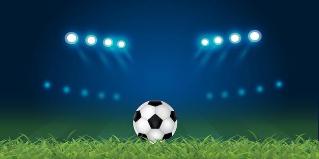 暗い背景と青い薄暗いライトのバナーでフィールドの真ん中に3dレンダリングサッカーボール