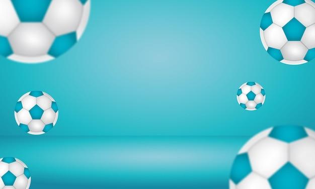 水色の背景バナーに浮かんでいる3dレンダリングサッカーボール