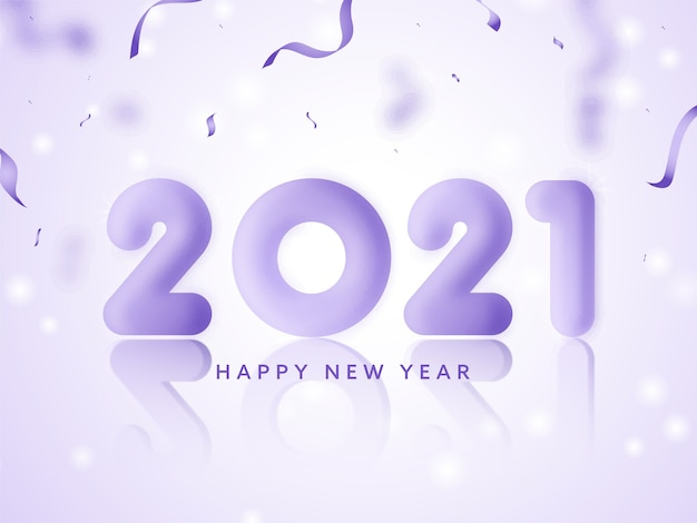 3d render glossy 2021 number with confetti ribbons on glossy light purple background for happy new year