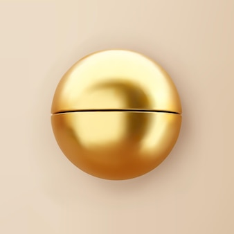 3d render gold geometric shape half sphere with shadows isolated on background. golden glossy realistic primitive. abstract decorative vector figure for trendy design.