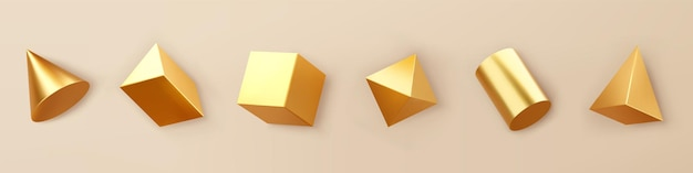 3d render gold geometric shapes objects set isolated on background. golden glossy realistic primitives - cube, cylinder, cone, pyramid with shadows. abstract decorative vector for trendy design