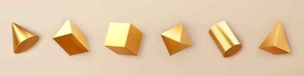 3dレンダリングゴールドの幾何学的形状オブジェクトセットは、背景に分離されています。金色の光沢のあるリアルなプリミティブ-立方体、円柱、円錐、影のあるピラミッド。トレンディなデザインの抽象的な装飾ベクトル