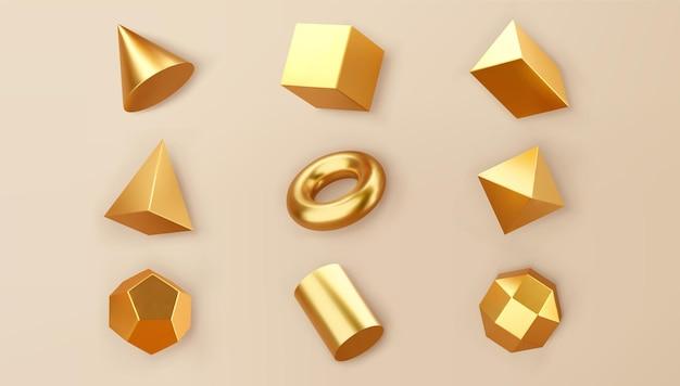 3d 렌더링 골드 기하학적 모양 개체 집합 배경에 고립. 황금 광택 현실적인 기본형 - 큐브, 실린더, 그림자가 있는 파이프. 최신 유행 디자인을 위한 추상 장식 벡터 그림입니다.